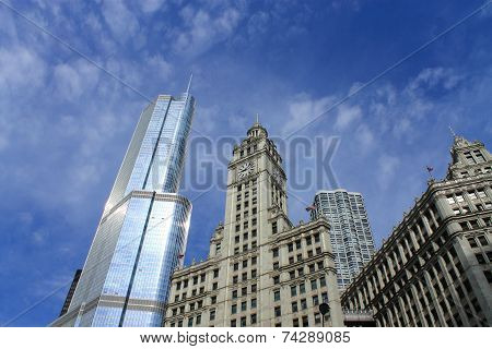 Chicago Wrigley Building And Trump Tower
