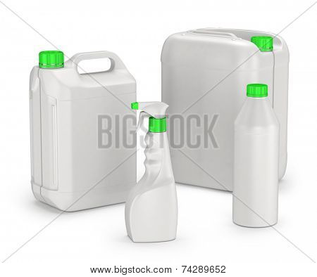 set of plastic canisters and bottles isolated on white background