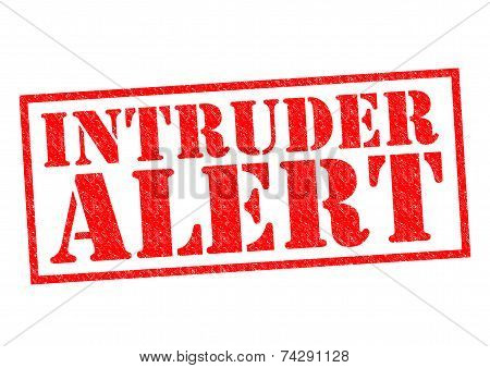 INTRUDER ALERT red Rubber Stamp over a white background. poster