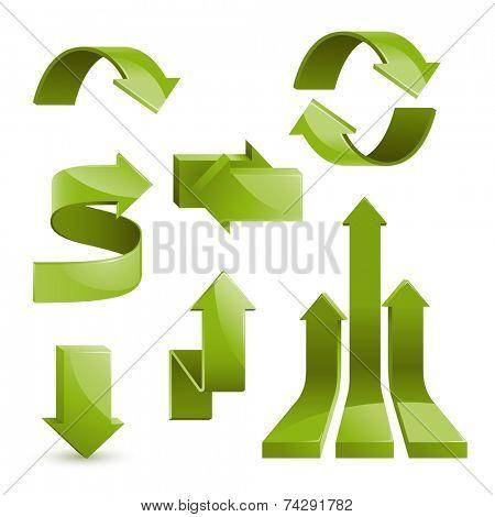 Set of glossy arrows, vector illustration