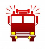 Silhouette of fire engine or truck with blaring sirens isolated on white background. poster