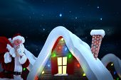 Santa claus carrying sack against stars twinkling in night sky poster