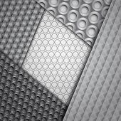 Set of several seamless carbon fiber patterns in black and gray colors poster