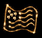 Flag of USA made of sparkles on black background poster