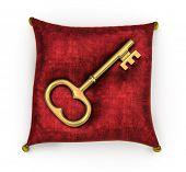Golden key on royal red velvet pillow isolated on white background poster