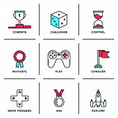 Flat line icons set of competitive advantage solution business gamification elements winning strategy ideas motivation and achievement. Modern trend design style vector concept. Isolated on white background. poster