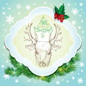 Holiday card with deer sketch and handwritten calligraphic text A Very Merry Christmas poster