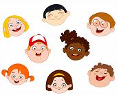 Vector illustration set of happy Kids faces poster