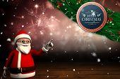 Cute cartoon santa claus against shimmering light design over boards poster