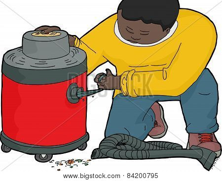 Worker With Clogged Vacuum