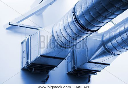 ventilation pipes of an new air condition for a cool home poster