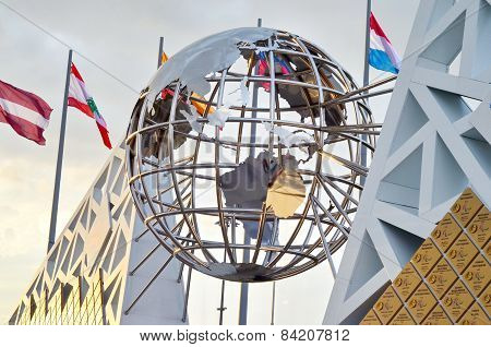 The Unisphere sculpture in Sochi, Russian Federation