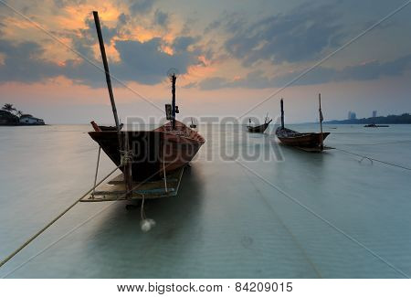 The Fishing Boat With A Beautiful Sunset, Thailand