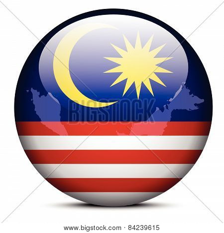 Map On Flag Button Of Malaysia