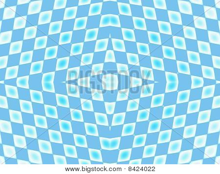 illusion of peak with blue star on checkered area with azure dots poster