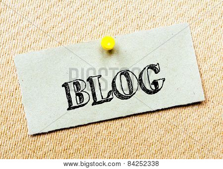 Recycled Paper Note Pinned On Cork Board. Blog Message. Concept Image