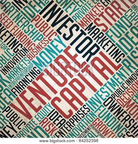 Venture Capital Background - Grunge Wordcloud Concept on Old Paper. poster