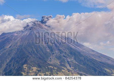 Day Explosion Of Tungurahua Volcano, South America