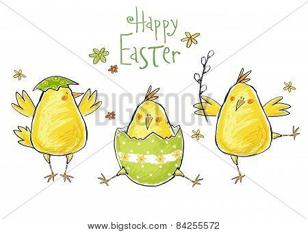 Happy easter greeting card. Cute chicken with text in stylish colors. Concept holiday spring cartoon