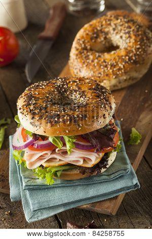 Healthy Turkey Sandwich On A Bagel
