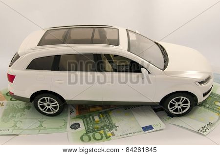 Car on banknotes