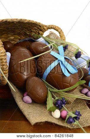 Chocolate Easter Eggs in Basket