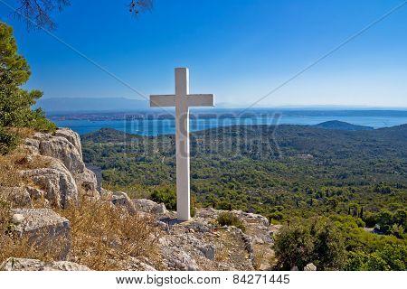 Cross Overlooking Islands Of Croatia
