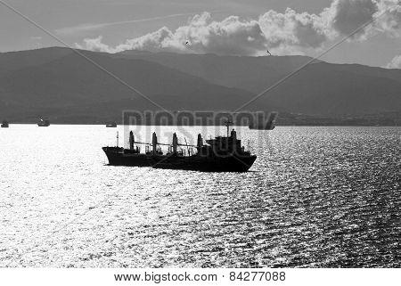 Freighter ship in Algeciras Bay