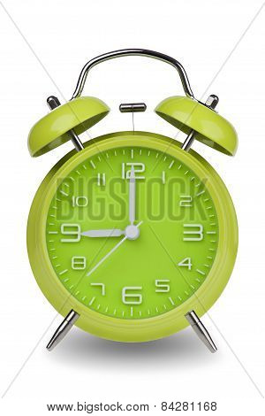 Green Alarm Clock With Hands At 9 Am Or Pm