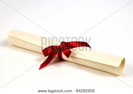 Horizontal shot of a nice diploma certificate with a beautiful red ribbon.  On white background poster
