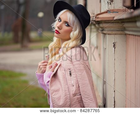 Portrait Of Beautiful Blonde Girl With Perfect Makeup