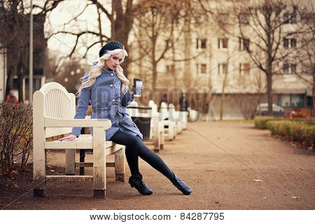 Pretty Blonde Woman With Coffee