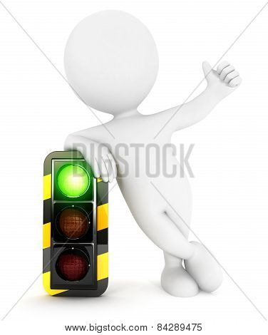 3d white people traffic light on green