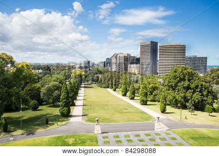 View looking South from Shrine of remembrance