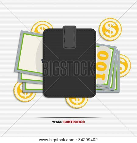 Wallet With Dollars And Gold Coins