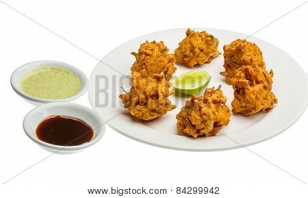Onion bhajee - fried chickpea flour with onion and spices poster
