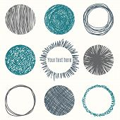 Hand drawn circle banners. Scribble Shapes. Vector illustration poster