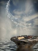 Fantasy landscape with rock and candle in the ocean poster