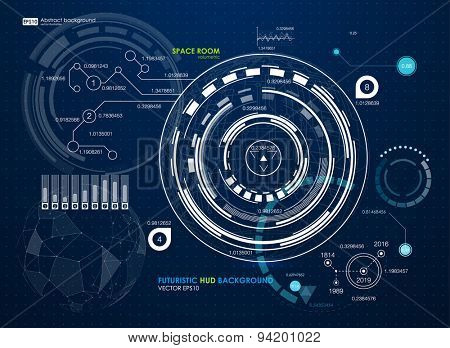 Infographic elements. futuristic user interface HUD. Abstract background with connecting dots and lines. Connection structure. Vector science background. Business abstract Vector illustration