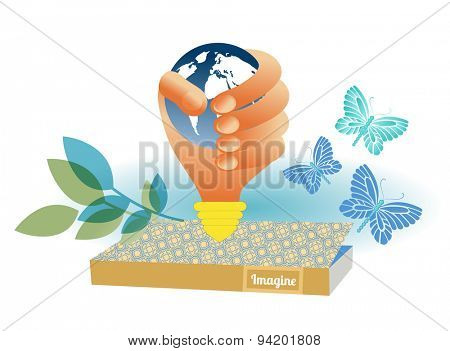 Book with hand  / lightbulb holding globe butterflies leaves