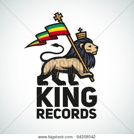 Judah lion with a rastafari flag. King of Zion logo illustration. Reggae music vector design