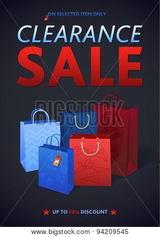 Clearance Sale Poster with percent discount. Illustration of paper shopping bags and lights