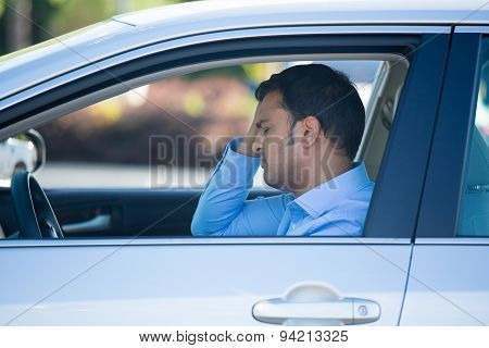 Driving Man Upset And Stressed In Car
