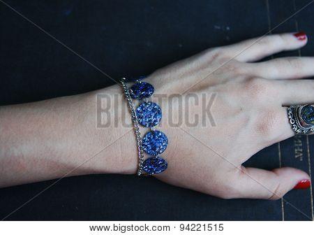 The bracelet on the wrist