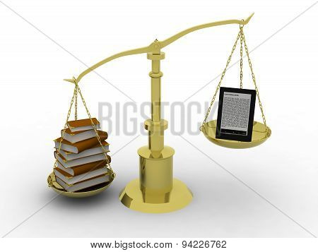 Balance Between Many Books And E-reader