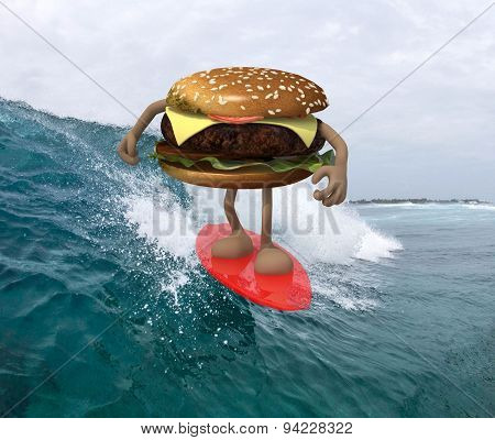 Hamburger With Arms And Legs That Surfing On The Sea