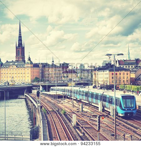 View of Stockholm, Sweden. Retro style filtred image
