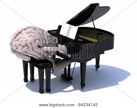 Brain With Arms And Legs Playing A Piano