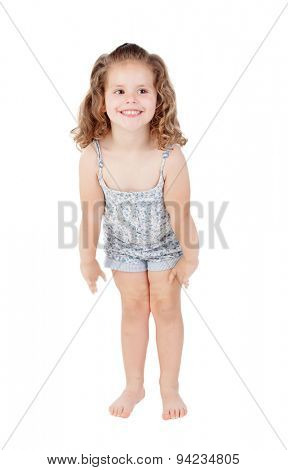 Cute little girl with three year old crouching on a white background