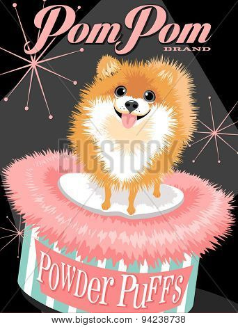 Illustrated poster of a Pomeranian dog and fictitious cosmetic brand advertisement